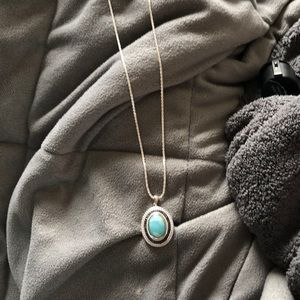 Black Spinel and Larimar Necklace